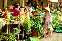 Vegetable stalls in Ben Thanh market in Ho Chi Minh City, Vietnam