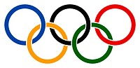 The five Olympic rings as a symbol of the Olympic Games of the modern times - Caution: For the editorial use only  Not for advertising or other commer...