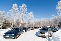 Packed parking lot at Winter  Location Oulu Finland Scandinavia Europe