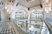 interior view of the Palacio de Cibeles, formerly known as Communications Palace, is the town hall of Madrid, Plaza de Cibeles, Madrid, Spain