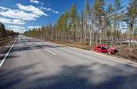 Crashed Volkswagen Golf at roadside ditch  Location Peurasuo Ahokylä Finland Scandinavia Europe