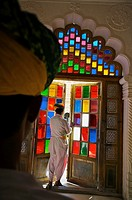 Stained Glass, Meherangarh Fort  Jodhpur  Rajasthan  India.
