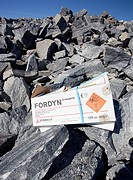 Dynamite box on freshly exploded rocks  Location Lintharju Suonenjoki Finland Scandinavia Europe