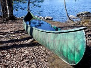 Canoe full of water  Location Nokisenkoski Rautalampi Finland Scandinavia Europe