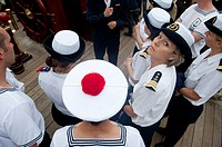 French sailors and officiers visiting the Mexican navy ship Cuauthemoc at the Tonnerres de Brest 2012 - International maritime festival, Brest France,