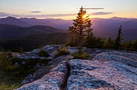 Sunset from Middle Sister Mountain in Albany, New Hampshire USA during the summer months