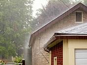 Heavy rain, downpour, Oak Park, Illinois