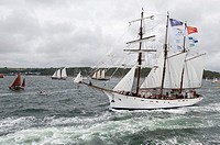 Sailing on the world´s largest wooden ship, the Gotheborg, from Brest to Douarnenez, France, during the Tonnerres de Brest 2012 - International mariti...