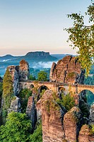 View from Ferdinand stone to the spectacular rock formation Bastei Bastion and Bastei Bridge It is one of the most visited tourist attractions in the ...