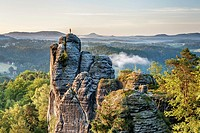 View to the rock Moench also Moenchstein monk or monkstone The Moench is a popular climbing tower rock in the National Park Saxon Switzerland near the...