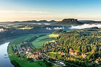View to the Table Mountain Lilienstein in the national park Saxony Switzerland He is one of the most striking mountains in the Elbe Sandstone Mountain...