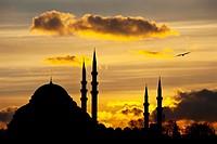 Silouhette of the Suleymaniye Mosque at sunset, Istanbul, Turkey