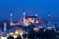 Hagia Sophia museum at twilight, Istanbul, Turkey