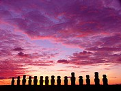 sunrise at Ahu Tongariki, Rapa Nui Easter Island, Isla de Pascua, Chile