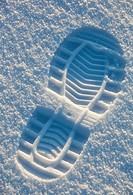 Shoe print on snow  Location Oulu Finland Scandinavia Europe
