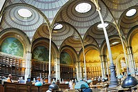 Paris, France- Inside National French Library Oval Reading Room, Bibliotheque National de France, Richelieu Site  / Credit Architect/ J L  Pascal