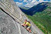 Rock climbing a route called the Regular Route which is rated 5,6 and located on Slick Rock near the city of McCall in the Salmon River Mountains of c...