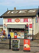 Ice cream kiosk on the Esplanade,Fleetwood,Lancashire,North West England