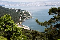 Looking back towards Istanbul from a hilltop on Büyükada, one of the Princes Islands in the Sea of Marmara
