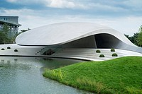 New ultra modern Porsche Pavilion at Autostadt or Auto City in Wolfsburg Germany, Architect Henn