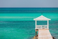Dock and gazebo with the ocean in Nassau, Bahamas
