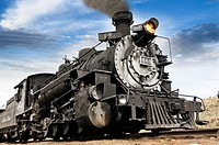 Old fashioned vintage locomotive train engine