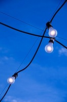 tungsten light bulbs handing from wire