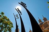 Spotlights poles for the Basílica de Nuestra Señora del Pilar on the Paseo de Echegaray y Caballero  Zaragoza, Aragón, Spain, Europe.