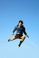 Man Jumping Skywards