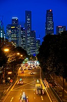City view of downtown Singapore at night