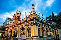 Exterior of Masjid Abdul Gafoor Mosque in Little India area of Singapore