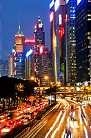 Zoomed blurred lights on city street in downtown Hong Kong China