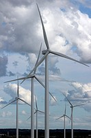 Wind farm, Nova Scotia, Canada, Amherst, Canadian Maritimes, wind turbine, green energy, electric power, windmills, blades, generating, clouds, sky.