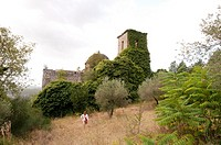 Italy, Caserta, San Pietro Infine Remains of the village and church, abandoned after major battle of WWII  New town was built down the hill in new loc...