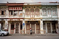 Traditional Peranakan, or Baba Nonya, style shophouses in Singapore in Southeast Asia Far East. Peranakan is a Malay word that refers to the descendan...