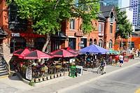 Downtown outside restaurants Toronto Ontario Canada