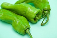 italian green peppers with green background. Valencia. Spain