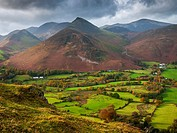 Newlands Valley from Cat Bells with Rowling End and Causey Pike fells in the distance  Keswick, Cumbria, England, United Kingdom