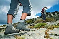 Hikers walking to Torozo peak in Sierra de Gredos  Ávila province  Castilla y León  Spain