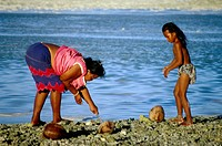 Fossicking at low tide on Tarawa Atoll, Kiribati, Central Pacific