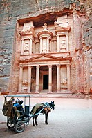 A horse carriage at the Treasury of Petra, Jordan