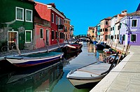 Colourfully painted houses on Burano island in the Venetian Lagoon, northern Italy