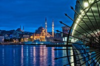 Yeni Cami or the New Mosque and Galata Bridge at sunrise, Istanbul Old city, Turkey