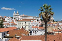 Terrace Portas do Sol, Gates to the Sun, Largo das Portas do Sol, overlooking the Alfama rooftops with The Church, Monastery of Sao Vicente de Fora, M...