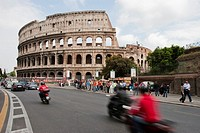 ITALY Rome  2008 Motorbikes in front of the Colosseo in Rome
