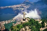 Corcovado Christ Statue - Aerial of Rio de Janeiro, Brazil