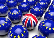 Close up of many balls with the European Flag and one ball with the United Kingdom´s Union Flag - Concept image