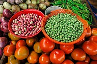 Red beans, green peas, tomatoes, Vegetables Market, Colombia, South America