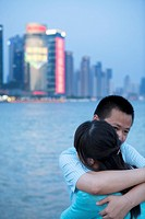 Shanghai sunset with hug
