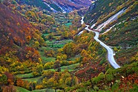 Overview of San Isidro road pass in Felechosa, Asturias, Spain